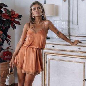 🔁SWAP🔁 Spell Rizzo Silk Babydoll Dress in Copper